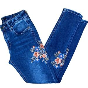 Miss Me floral embroidered skinny ankle jean 26